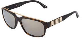 Puma Rectangle Plastic Sunglasses w/ Mirror Lenses
