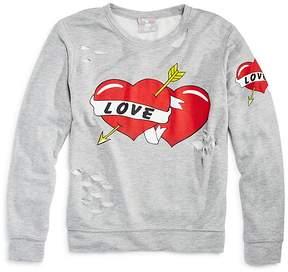 Flowers by Zoe Girls' Distressed Love Sweatshirt - Big Kid