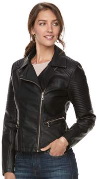 Apt. 9 Women's Textured Faux-Leather Moto Jacket
