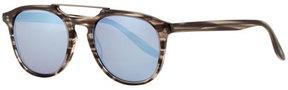 Barton Perreira Men's Rainey Rectangular Top-Bar Sunglasses, Gray/Blue