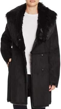 Andrew Marc Sarah Asymmetric Front Faux Shearling Coat