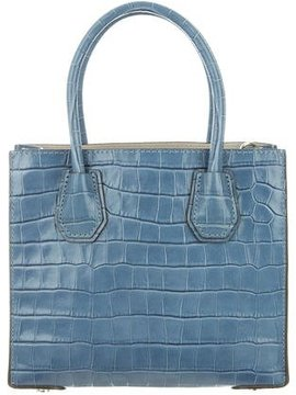 Michael Kors Embossed Leather Satchel - BLUE - STYLE