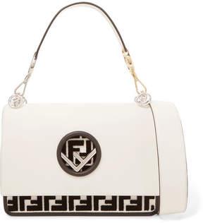 Fendi Kan I Flocked Leather Shoulder Bag - Off-white