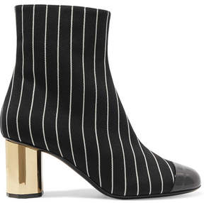 Marco De Vincenzo Patent Leather-trimmed Pinstriped Wool Ankle Boots - Black