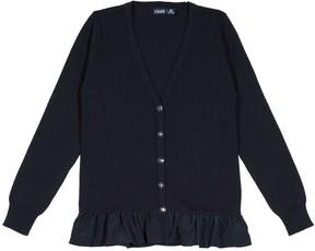 Chaps Girls 4-16 School Uniform Ruffled Cardigan Sweater