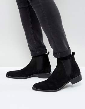 Asos Chelsea Boots In Black Suede With Sole Zip Edge Detail
