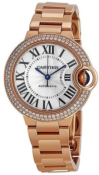 Cartier Ballon Bleu Silver Dial 18kt Rose Gold Diamond Ladies Watch