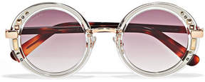 Jimmy Choo Gem Swarovski Crystal-embellished Round-frame Acetate And Gold-tone Sunglasses - Purple