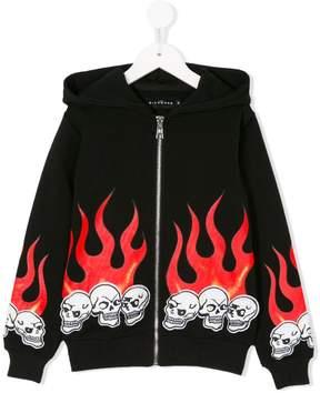 John Richmond Kids skull fire patch zip hoodie