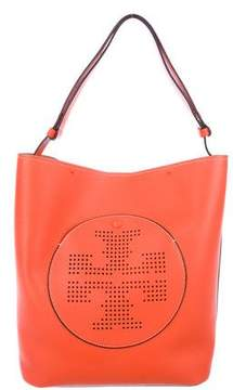 Tory Burch Textured Leather Logo Shoulder Bag - ORANGE - STYLE