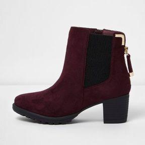 River Island Girls red zipped block heel chelsea boots