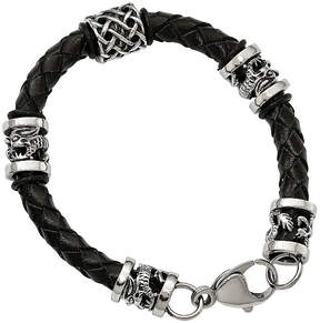 Dragon Optical FINE JEWELRY Mens Stainless Steel & Black Leather Bracelet