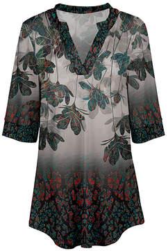 Azalea Cream & Turquoise Floral V-Neck Tunic - Women & Plus