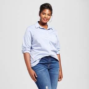 Ava & Viv Women's Plus Size Button Down Dot Shirt Blue