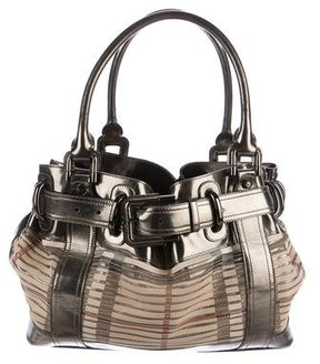 Burberry Metallic Leather-Trimmed Shoulder Bag - BROWN - STYLE