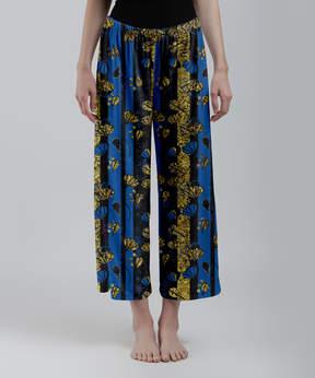 Lily Blue & Gold Floral Palazzo Crop Pants - Women & Plus