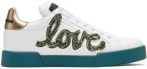 Dolce & Gabbana White Glitter Love Patch Sneakers
