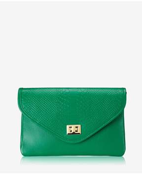 GiGi New York | Georgia Clutch In Jade Embossed Python | Jade embossed python