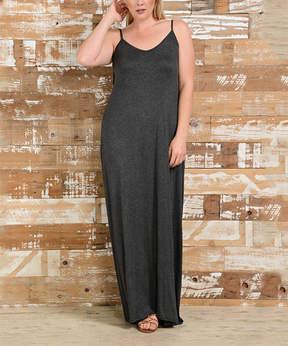 Bellino Charcoal Tie-Strap Maxi Dress - Plus