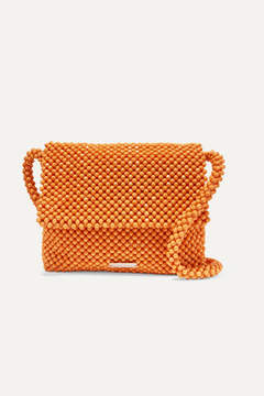 Loeffler Randall Roz Beaded Satin Shoulder Bag - Orange