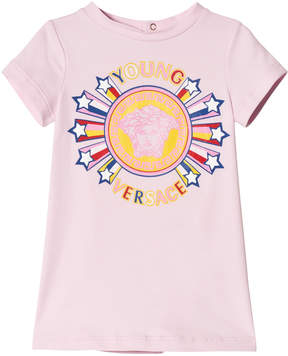 Versace Pink Medusa Star Print Infants Dress