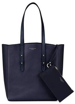 Aspinal of London Essential Tote In Navy Pebble Navy Suede