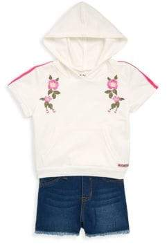 Hudson Baby Girl's Two-Piece Hoodie and Denim Shorts Set