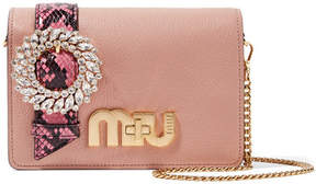 Miu Miu My Miu Embellished Watersnake-trimmed Textured-leather Shoulder Bag - Antique rose