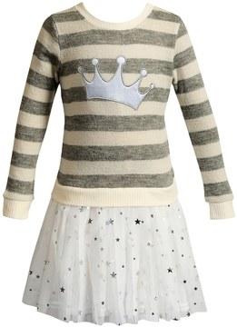 Youngland Toddler Girl Crown Striped Tutu Skirt Sweater Dress