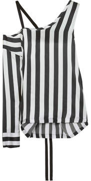Ann Demeulemeester Asymmetric Striped Silk-satin Top - Silver