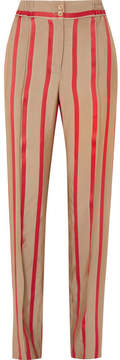 Etro Striped Satin-twill Wide-leg Pants - Beige