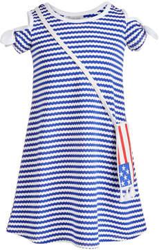 Bonnie Jean Little Girls 2-Pc. Striped Cold Shoulder Dress & Flag Shoulder Bag Set