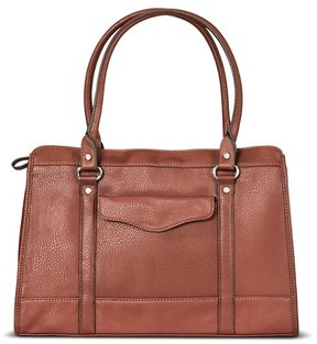 Merona Women's Tote Faux Leather Handbag with Zip Closure Russet