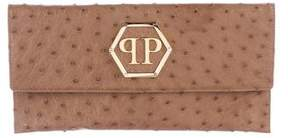 Philipp Plein Ostrich Flap Clutch