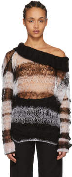 Ann Demeulemeester Black and White Striped Off-the-Shoulder Sweater
