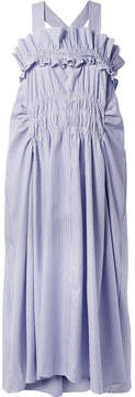Carven Smocked Ruffled Striped Cotton-poplin Midi Dress - Sky blue