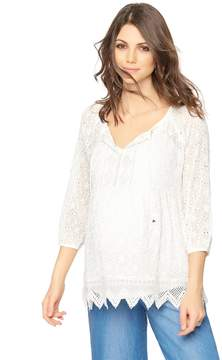 A Pea in the Pod Luxe Essentials Denim Shirring Detail Maternity Blouse