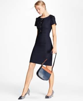 Brooks Brothers Ruffle-Trimmed Stretch-Wool Sheath Dress