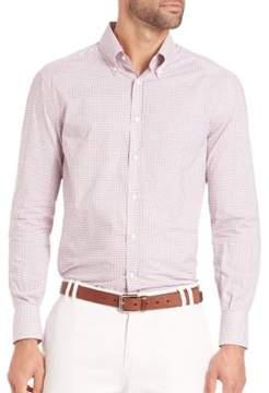 Brunello Cucinelli Mini Check Cotton Button-Down Shirt
