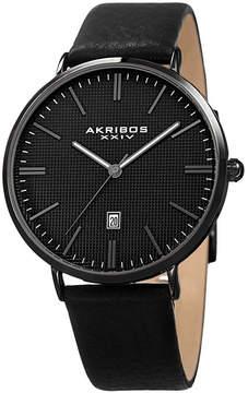 Akribos XXIV Mens Black Strap Watch-A-935bk