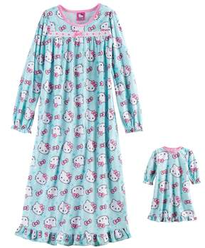 Hello Kitty Girls 4-10 Pink Bow Nightgown & Doll Gown Set