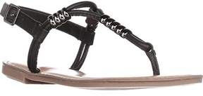Bar III B35 Vortext T-strap Flat Sandals, Black.