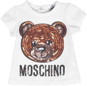 Moschino Sequined Patch Cotton Jersey T-Shirt
