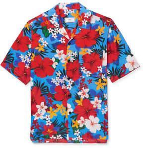 Ami Camp-Collar Printed Satin Shirt