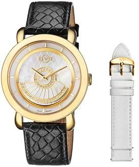 MOP GV2 Catania Diamond Ipyg Case With White Dial And White Leather Strap And Spare Black Leather Strap.