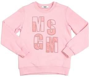 MSGM Logo Embroidered Cotton Sweatshirt