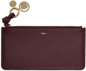 Chloé Burgundy Flat Alphabet Zipped Wallet