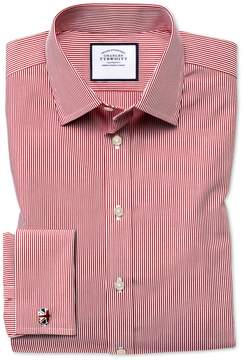 Charles Tyrwhitt Slim Fit Non-Iron Bengal Stripe Red Cotton Dress Shirt French Cuff Size 14.5/33