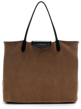 Givenchy Large Shearling Antigona Reversible Shopping Bag in Neutrals,Brown.