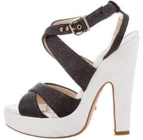 Jerome C. Rousseau Woven Platform Sandals